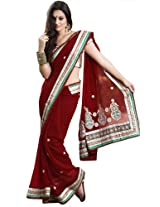 Bharat Plaza Off White Design Border Saree