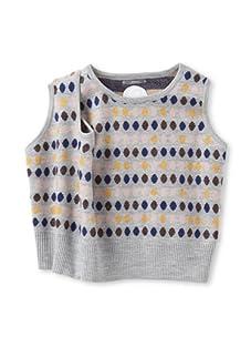 Kicokids Girl's Intarsia Knit Dotty Three Armhole Vest (Patchwork)