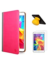 VanGoddy Mary Portfolio Multi Purpose Book Style Slim Flip Cover Case for Samsung Galaxy Tab4 T330/T331 8.0 (Pink) + Bluetooth Suction Stand Speakers + Matte Screen