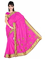 Somya Women's Embroidered Chiffon Pink Saree with Booti work