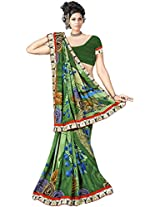 Shree Bahuchar Creation Women's Chiffon Saree(Skb11, Green)