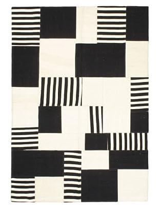 Hand Woven Moldovia Patch Wool Kilim, Black/Cream, 4' 8
