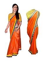 Pulp Mango Media Chiffon Saree (Pm003 _Orange)