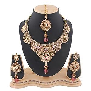 Variation Design Polki Bridal Necklace Set - Pink