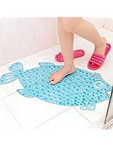 X&W Fish Bathroom Floor Mat Shower with Sucker Non-slip Anti Skid Suction Home Decor Safe for Kid Child (Blue)