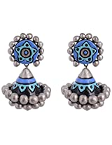 Scorched Earth Ishi Blue Terracotta Jhumki Earrings for Women