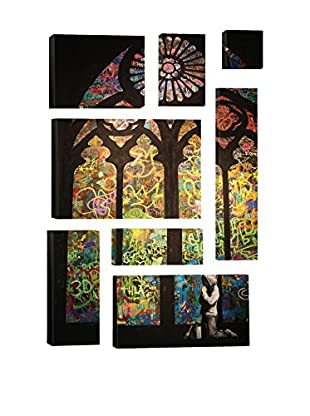 Banksy Stained Glass Window Graffiti 8-Piece Giclée On Canvas