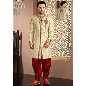 Utsav Fashion MCD2130 Banarasi Sherwani - Beige