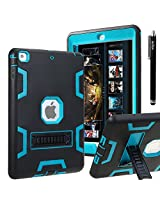 iPad Air CASE, E LV iPad Air Case Cover, Hybrid Dual Layer Armor Defender Protective Case Cover with 1 Black Stylus for Apple iPad Air - [BLACK/TURQUOISE]