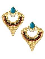 Voylla Pair Of V Shaped Dangler Earrings With Enamel Work