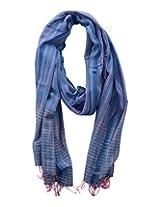 Dushaalaa Women's Scarves (scf034.b_Blue, Blue, L x B : 85 Inches X 30 Inches)
