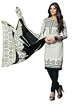 Dfolks Women's Cotton Unstitched Dress Material (DF0011, White, Free Size)