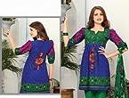Triveni Blue Cotton Printed Salwar Kameez TSRJINSK101