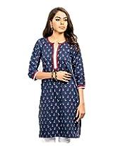 Almas Women's Cotton Regular Fit Kurti (ALM-KUR-300093_L, Navy Blue, Large)