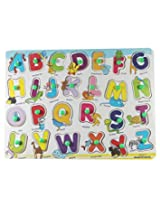 Little Leaf Little Grin English Alphabets Wooden Puzzle With Pegs - Capital Letters