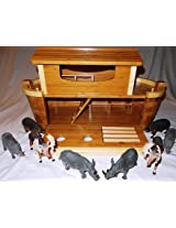 "Giant Noahs Ark (Over 27"") With 8 Plastic Animals (4 Pairs) Play Set"