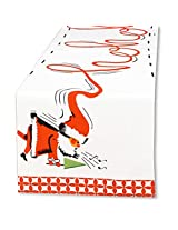 Christmas Table Runner Linen with Ho Ho Ho Vintage Santa 72L by Rosanna