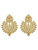 South Indian Wedding Collection Golden Polished Work Earring For Women