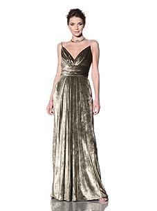 Badgley Mischka Women's Velvet Draped Gown (Gold)