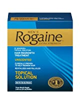 Rogaine Hair Regrowth Treatment Men's Extra Strength Unscented 3 ct (Pack of 1)