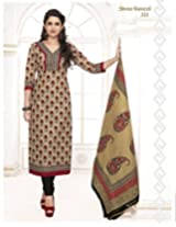 SGS Printed Cotton Unstitched Regular Fit Salwar Suit (Beige_Free Size)