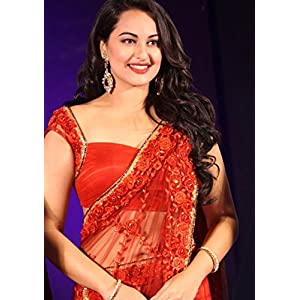 High5store Sonakshi Sinha Bollywood Net Saree - Red