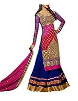 CrazeVilla women georgette floor length long anarkali suit (Blue_Free Size)