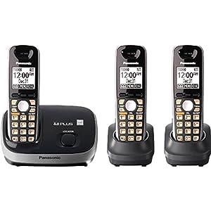 Panasonic KX-TG6513B DECT 6.0 3-Handset for Cordless Phone (Black)