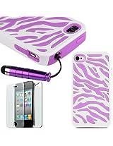 Pandamimi Hard Soft High Impact iPhone 4G Armor Case Skin Gel - Purple White Zebra Combo