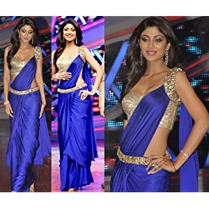 Shilpa Shetty Bollywood Replica Traditional Blue Saree Gown by Zahara
