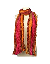 Vozaf Women's Polyester And Nylon Stoles & Scarves - Orange And Pink With Crinkled Design