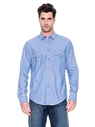 Hugo Boss Camisa Eddaie (Azul Oscuro / Blanco)