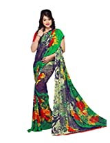 Yomeeto Georgette Fabric Green Coloured Printed Saree