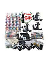 Professional Complete Tattoo Kit 3 Top Machine Gun 54 Color Ink Needle Power Supply