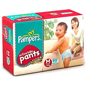 Pampers Active Baby Medium Size Diaper Pants (60 Count)