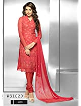 Red Chiffon Designer Embroidered Straight Suit 1 - for Salwar Suit by Monster Fashion