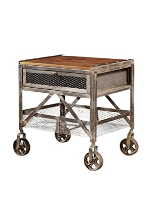 Coast to Coast End Table with Wheels, Grey/Brown