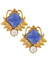 The jewelbox Faceted Blue Stone 18K Gold Plated Victorian Stud Earring for Women