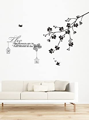 Ambiance Live Wandtattoo Flowered with tree and birds schwarz