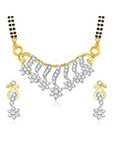 Meenaz Graceful CZ Gold And Rhodium Plated Mangalsutra Set for Women