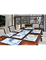 "Avira Home Aquatic Table Mats & Table Runner Set- 6 Mats (13""x19"") & 1 Runner (13""x39""), Machine Washable"