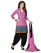 Jevi Prints Pink Embroidery Cotton Dress Material with Chiffon Dupatta