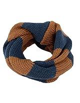 Children's Fashion Scarf, Hand Knit Striped Pattern, Infinity, Coffee/Dark Blue