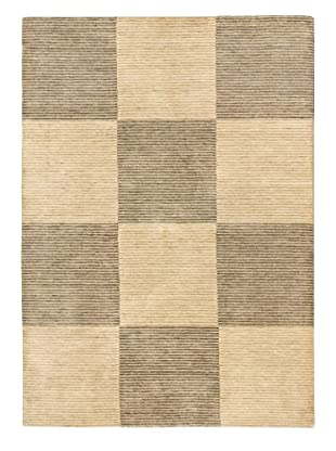 Hand-Knotted Kashkuli Gabbeh Wool Rug, Cream/Dark Gray, 5' 7