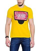 Yepme Men's Yellow Graphic Cotton T-shirt -YPMTEES0257_M
