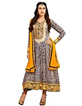 Riti Riwaz Women's Semi Stitched Anarkali Suit With Dupatta (ES10008_Yellow_Free Size)