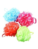 discount4product Set of 4 - High Quality Mesh Shower Sponges / Exfoliation Body Puffs / Bath Scrubbers, Assorted Colors