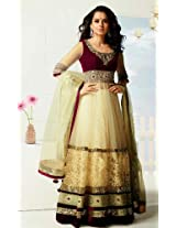 Kangana Ranaut Cream , Maroon Designer Anarkali Suit - LFSUVARS9003