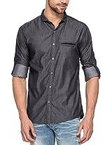 SPYKAR Men Cotton Dk.Grey Casual Shirt (Large)