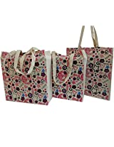 Sankh Doodle-100% Natural Cotton Eco-friendly Reusable Durable Grocery Shopping Travel School Woman Handbag Gift Bag Tote- 3 Pc Pack